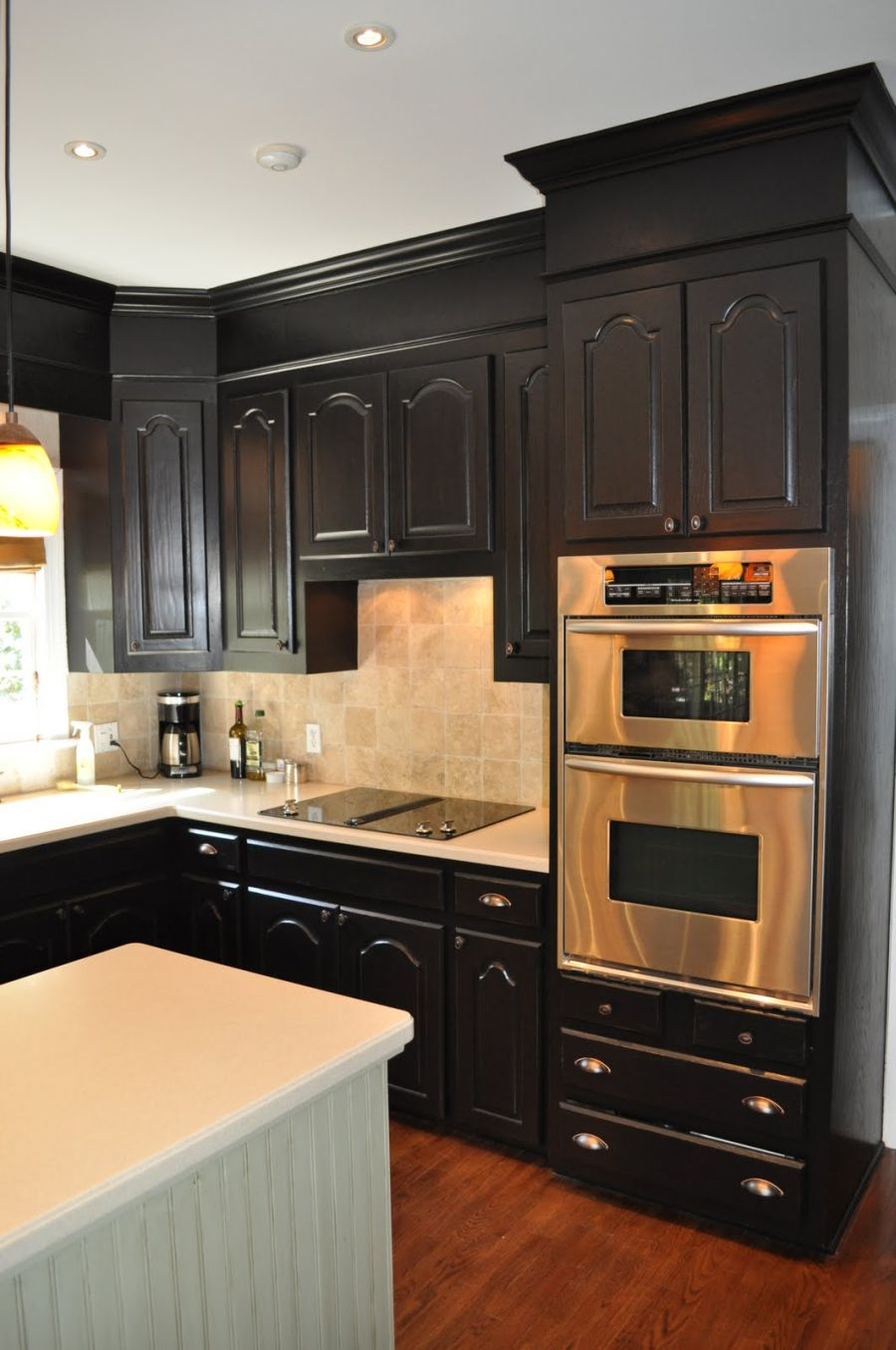 Green Kitchen Cabinets With Two Ovens In Wall