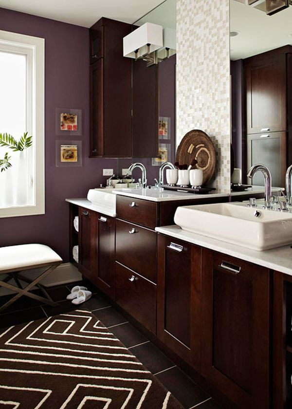 beautiful Small Bathroom Color Schemes Part - 10: Chocolate and cream.