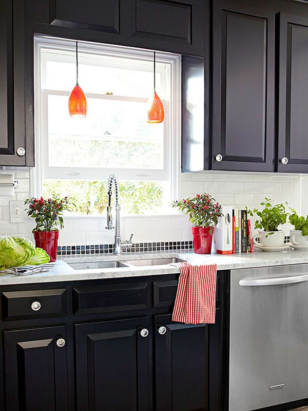 Black Cabinets With Colored Lighting.