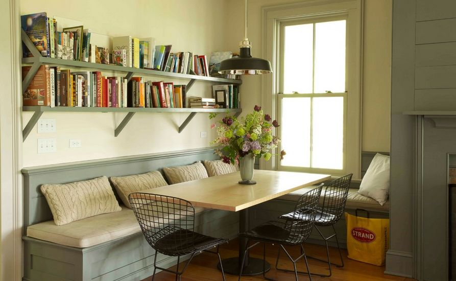 how to create backing for a breakfast nook bench