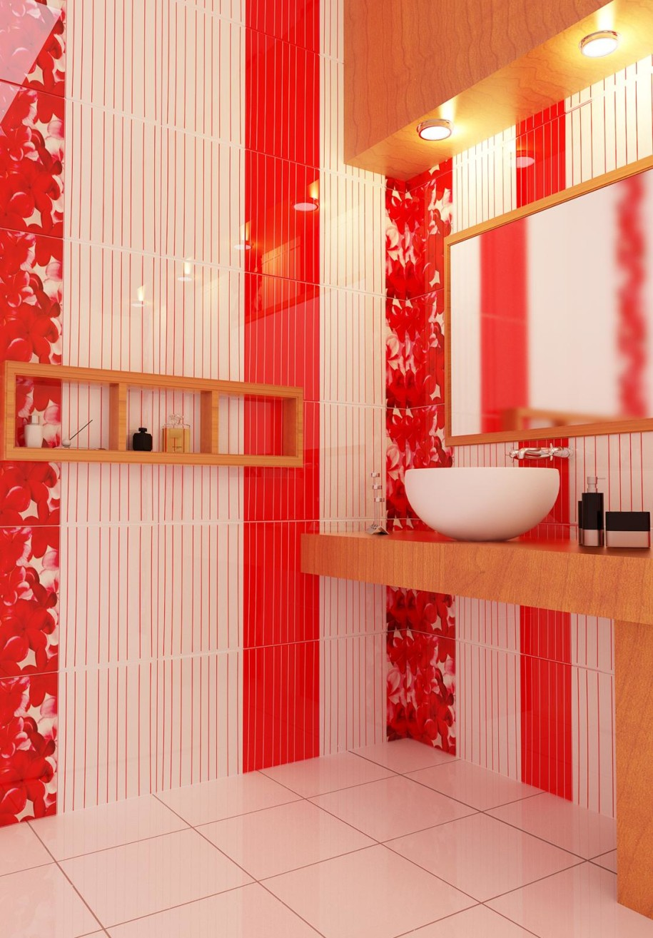 30 bathroom color schemes you never knew you wanted - Red Bathroom 2015