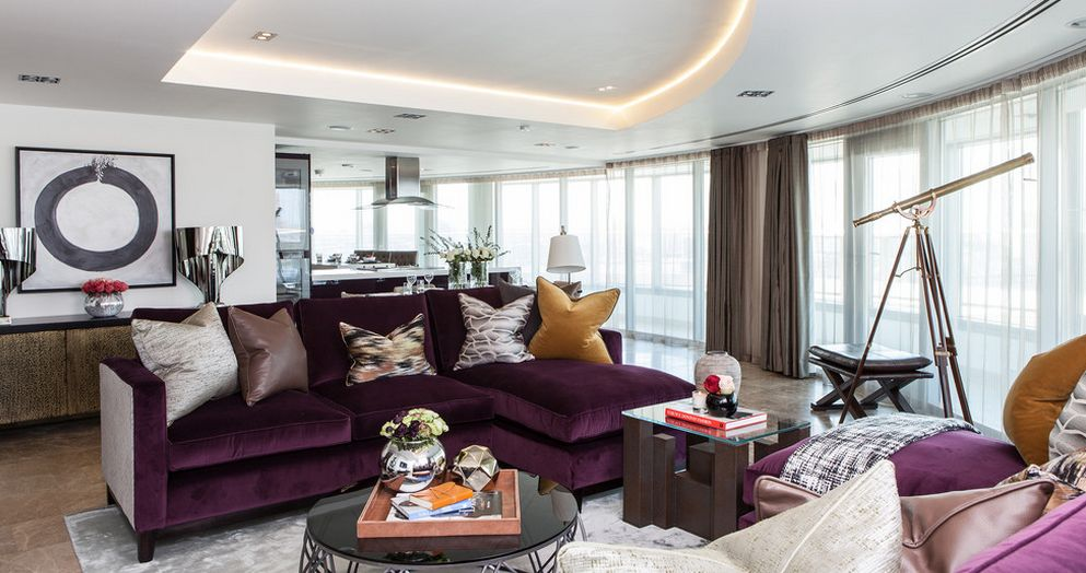 Purple Accent Living Room Decor