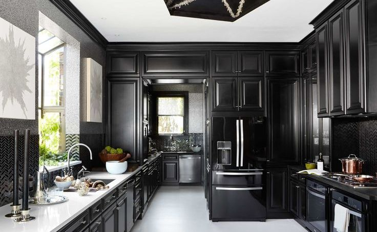 one color fits most: black kitchen cabinets