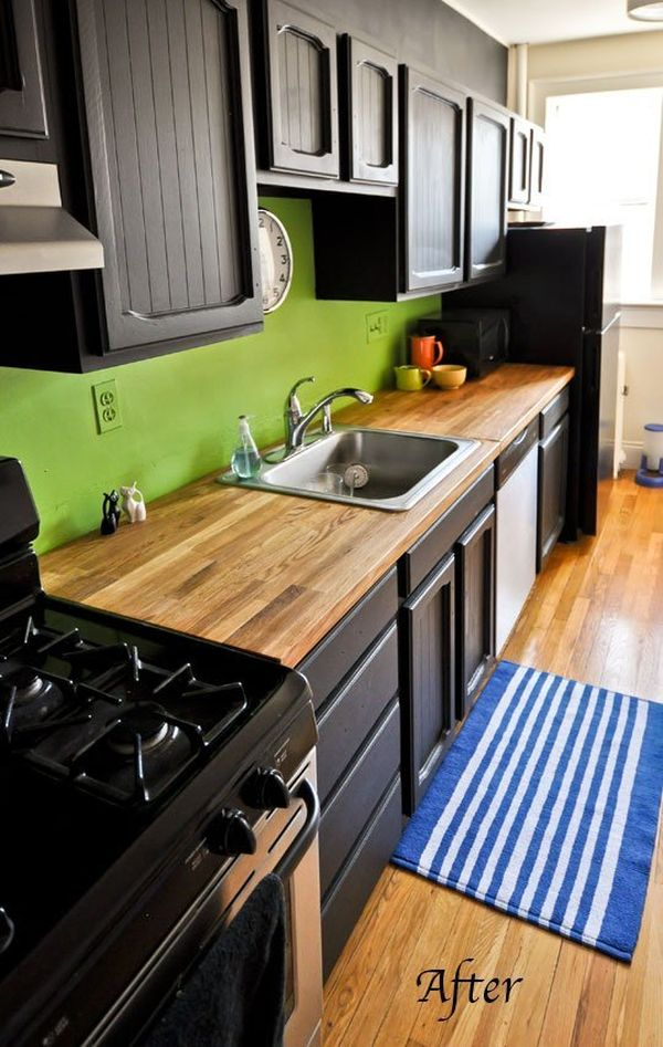 black cabinets kitchen. Black and Butcher Block  One Color Fits Most Kitchen Cabinets