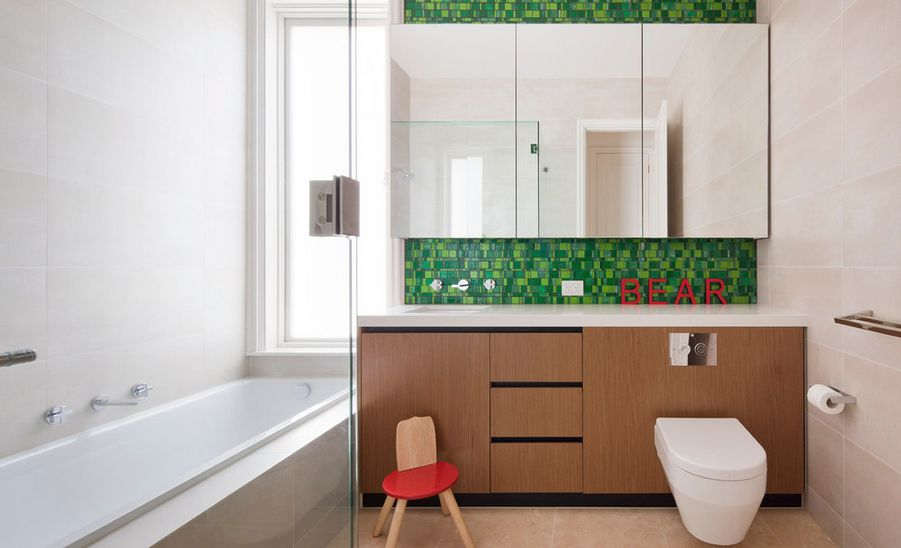 the result is balanced and striking - Bathroom Tiles Color Combination