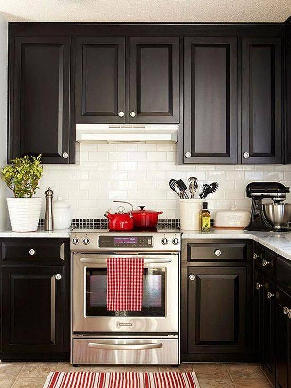 One color fits most black kitchen cabinets for Red kitchen designs photo gallery