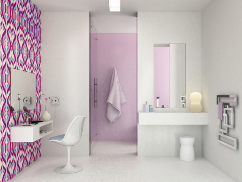 lavender and white - Bathroom Tiles Combination
