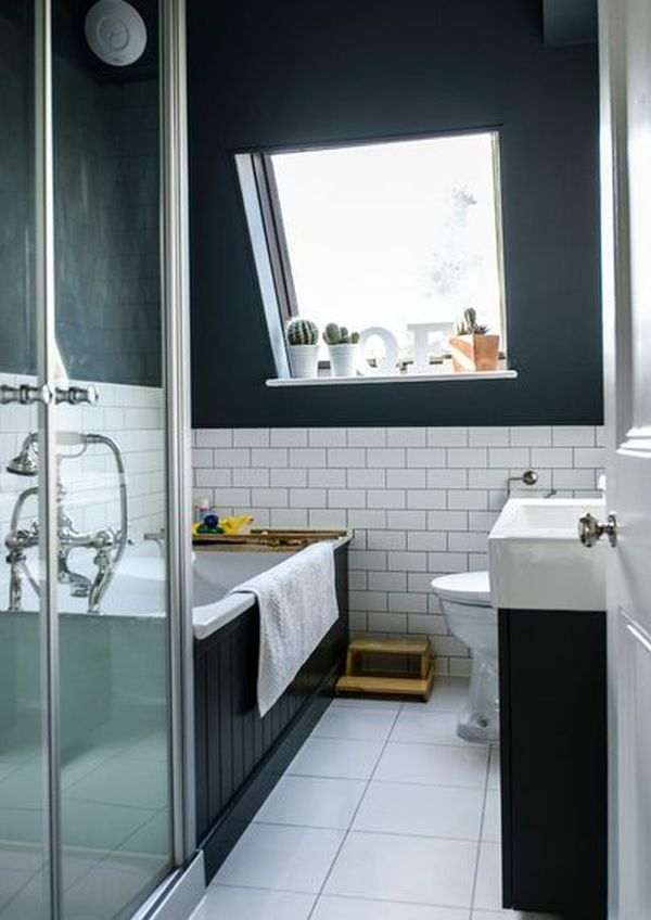 midnight blue and white - Bathroom Tile Ideas Colour