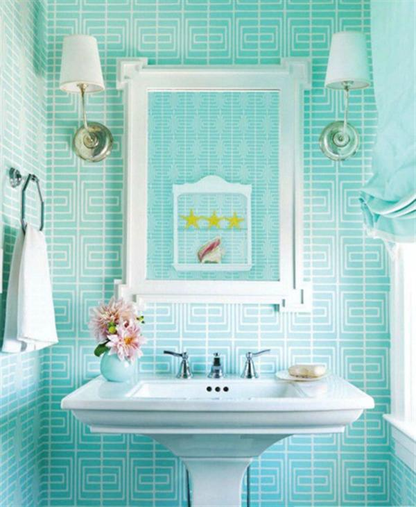 mint and white - Bathroom Tiles Color Combination