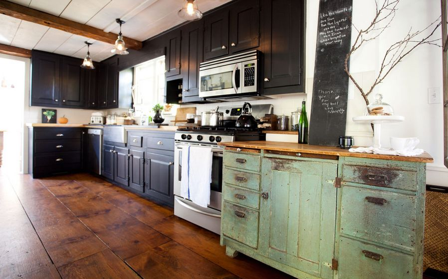 One Color Fits Most Black Kitchen Cabinets - Green kitchen cabinets with black countertops