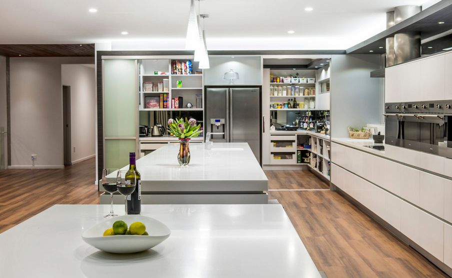 A diversity of door styles to hide your pantry with for Modern kitchen pantry