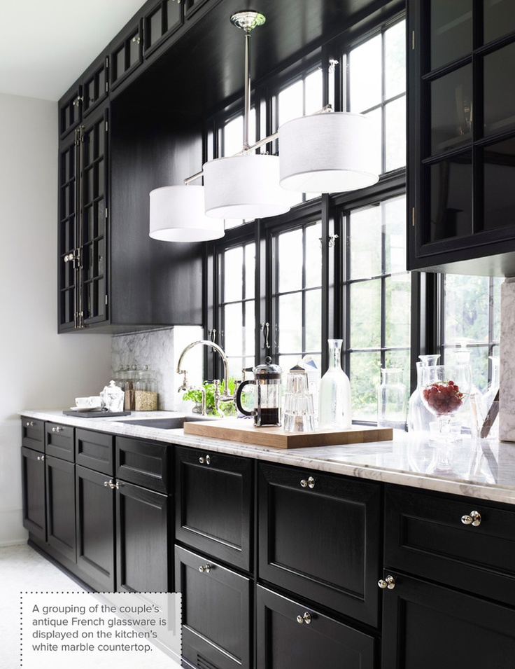 One Color Fits Most: Black Kitchen Cabinets on landscaping ideas with lighting, patio design ideas with lighting, white kitchen cabinets with lighting, kitchen cabinetry with lighting,