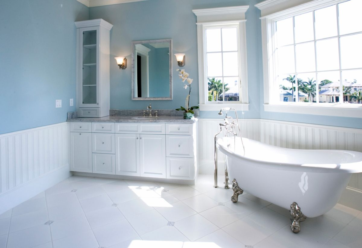 Bathroom painting ideas green - Pale Blue And White