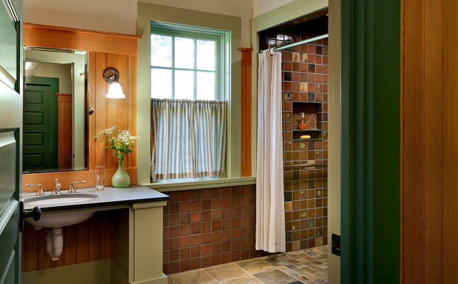 brown tile bathroom paint. Brick red and forest green  30 Bathroom Color Schemes You Never Knew Wanted