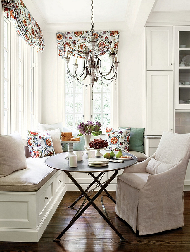Complement A Round Kitchen Table With A Chandelier.