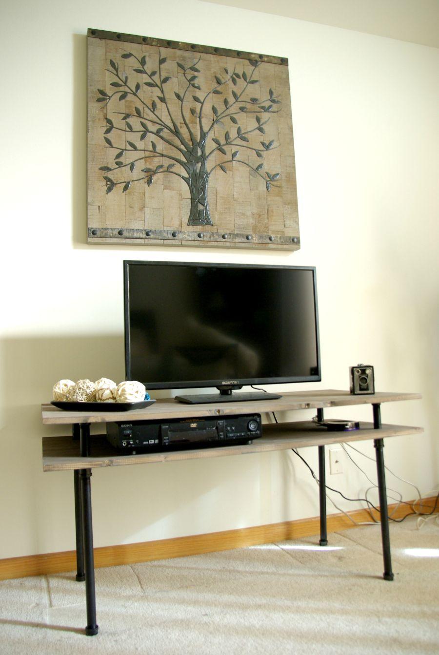 diy tv stand a blend of industrial rustic and modern. Black Bedroom Furniture Sets. Home Design Ideas