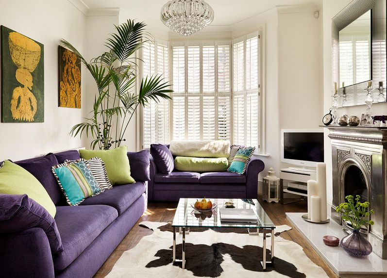 Living Room Ideas Purple And Grey how to match a purple sofa to your living room décor