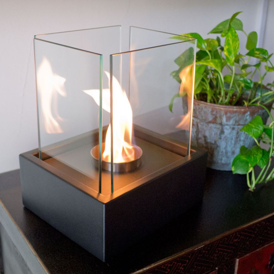 ethanol bio burner homcom fireplace decor top table free black portable firebox stand home
