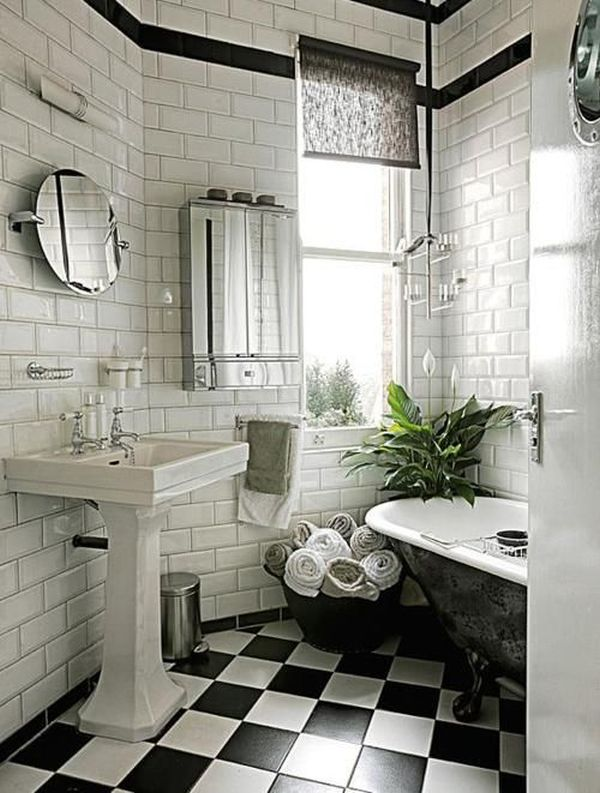 Bathroom Color Schemes You Never Knew You Wanted - Black and white square vinyl flooring