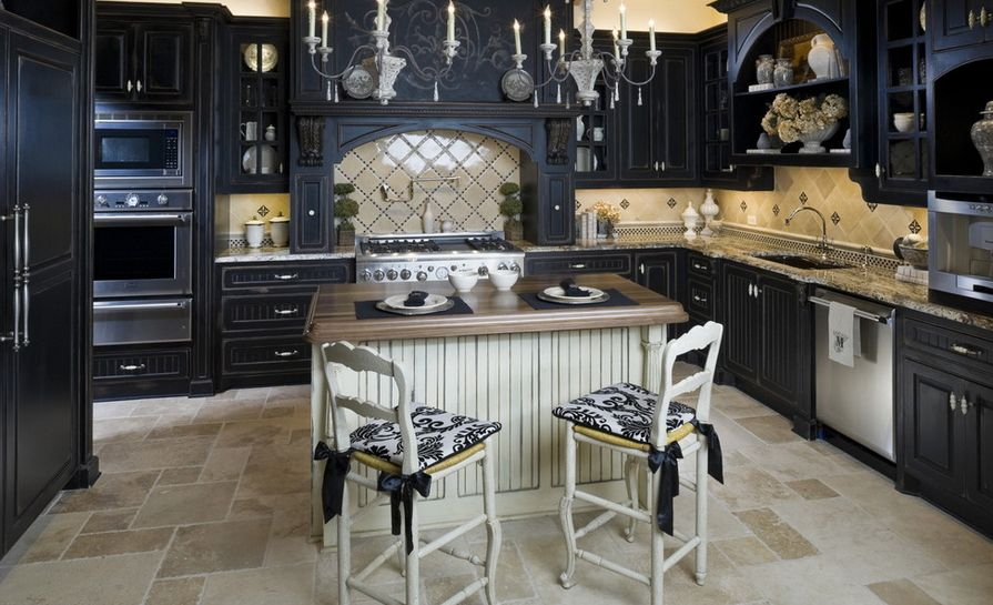 Black Cabinets With White Island.