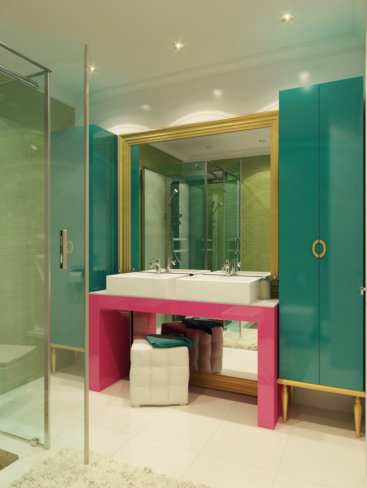 turquoise pink and gold view in gallery using a specific bathroom color scheme