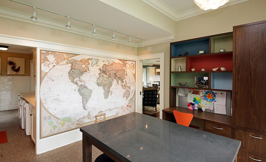 World Map Accent Wall View In Gallery