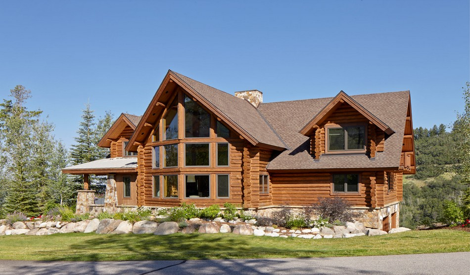 Rustic log retreat blends modern accents and spectacular views for Contemporary log home plans
