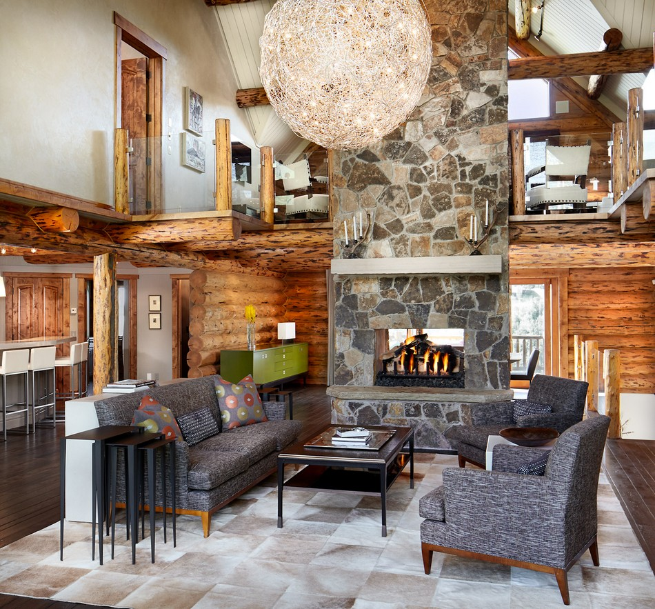 Colorado-log-cabin-great-room-fireplace