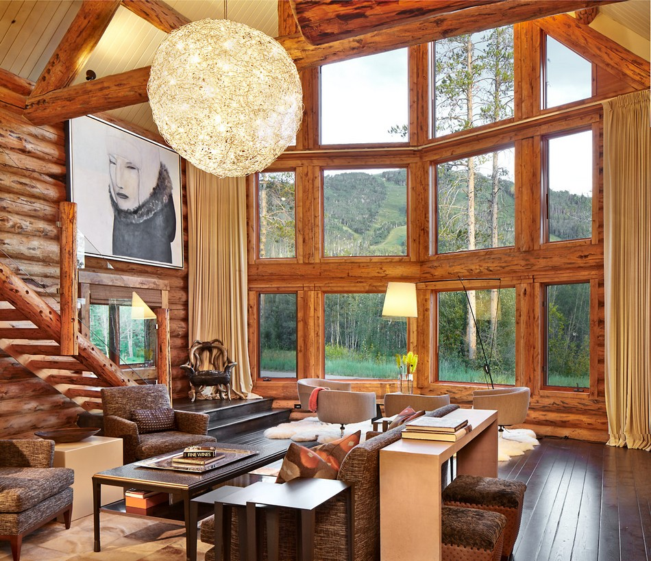 Colorado-log-cabin-great-room-large-windows