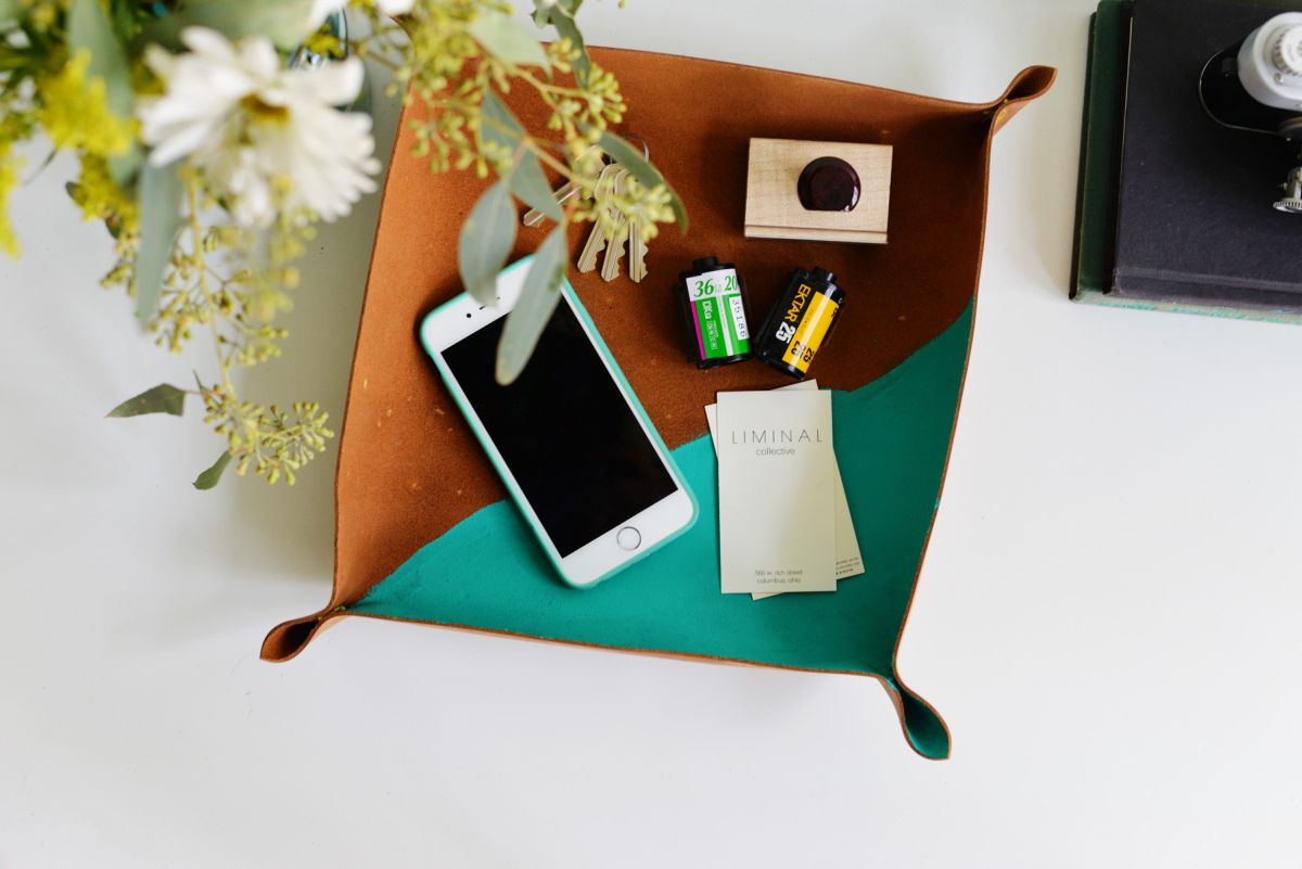 DIY Cross Stitch Leather Catchall