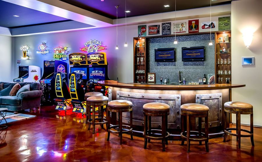 Arcade Paired With Basement Bar.