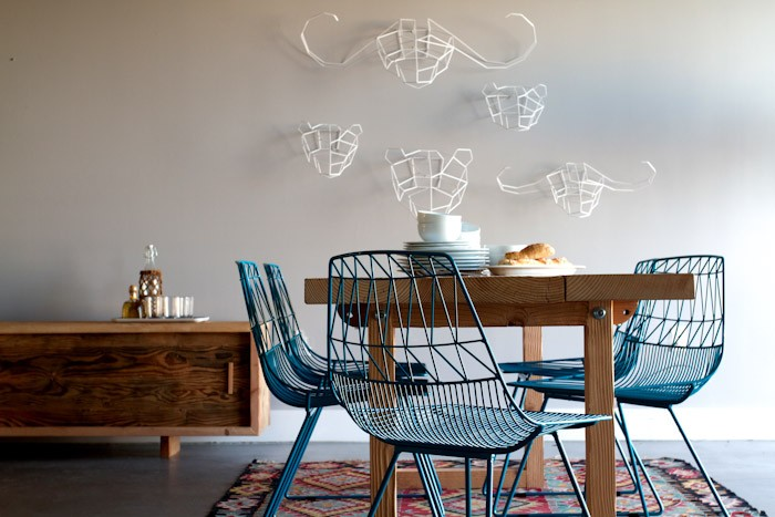 blue metal dining chairs. View in gallery Industrialize Your Dining Room With Metal Chairs