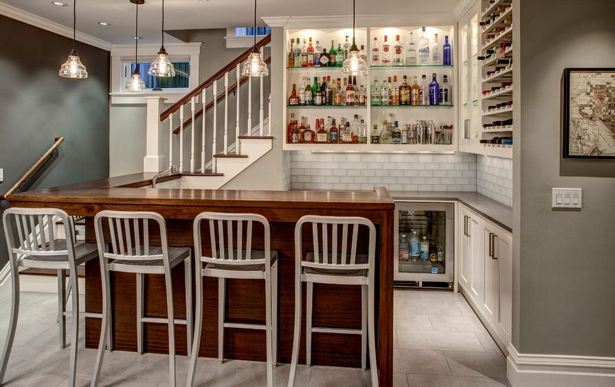 basement bar ideas. Warm Wood + Whites. Basement Bar Ideas