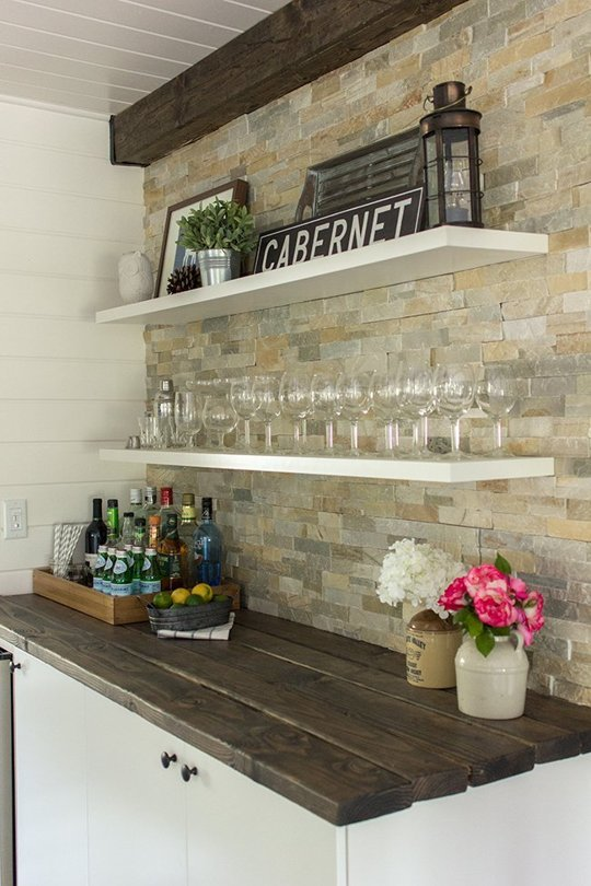 Plank Countertop For Tiny Corner Bar.