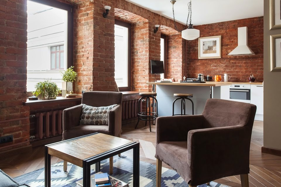 Renovated Studio Apartment Exposed Brick Wall