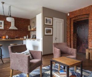 Studio Apartment Stays Authentic By Keeping Its Brick Walls Intact
