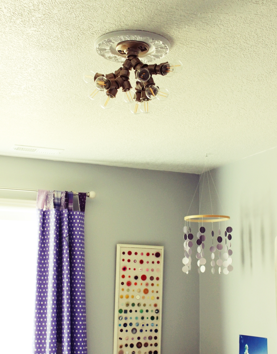 Diy ceiling light fixture made with branched out socket splitters step 10 install bulbs and turn it on aloadofball Choice Image