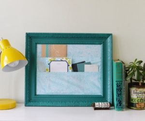 DIY Cubicle Framed Fabric Organizer