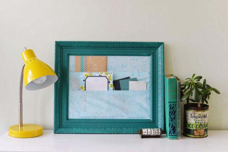 DIY Cubicle Framed Fabric Organizer