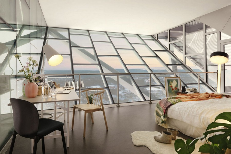 Ski-jump-penthouse-bedroom-slated-wall