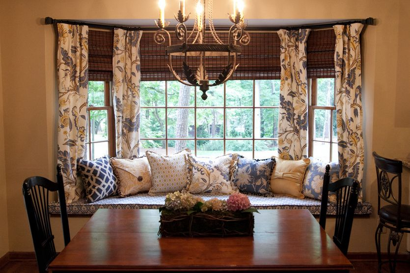 how to solve the curtain problem when you have bay windows - Window Treatment Ideas