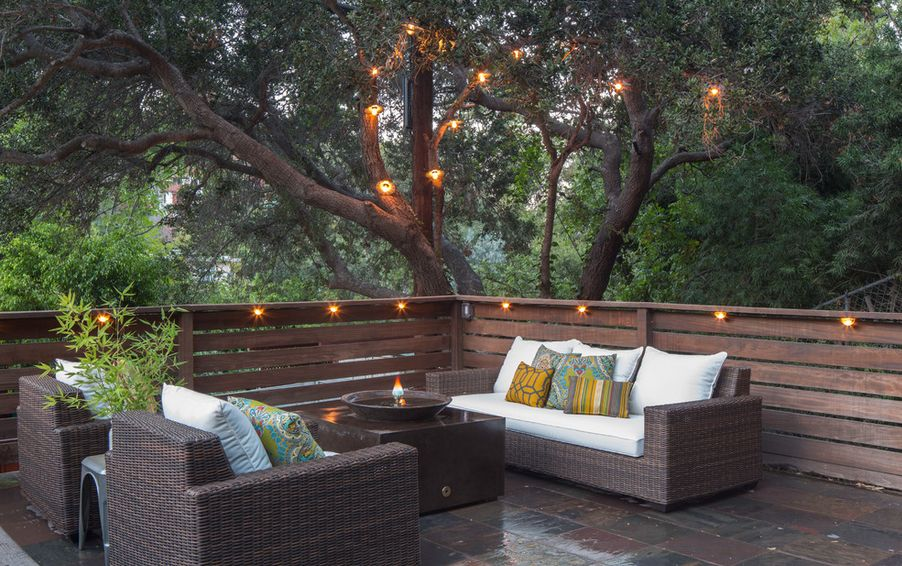 deck lighting ideas that bring out the beauty of the space. Black Bedroom Furniture Sets. Home Design Ideas