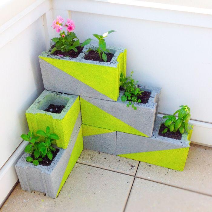 cinderblock planter