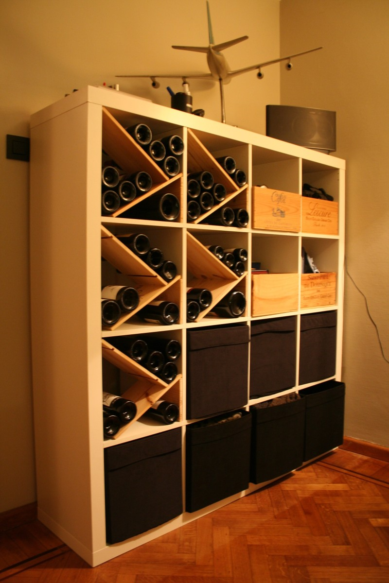 How to combine ikea items to build your own wine rack - Deco wijnkelder ...