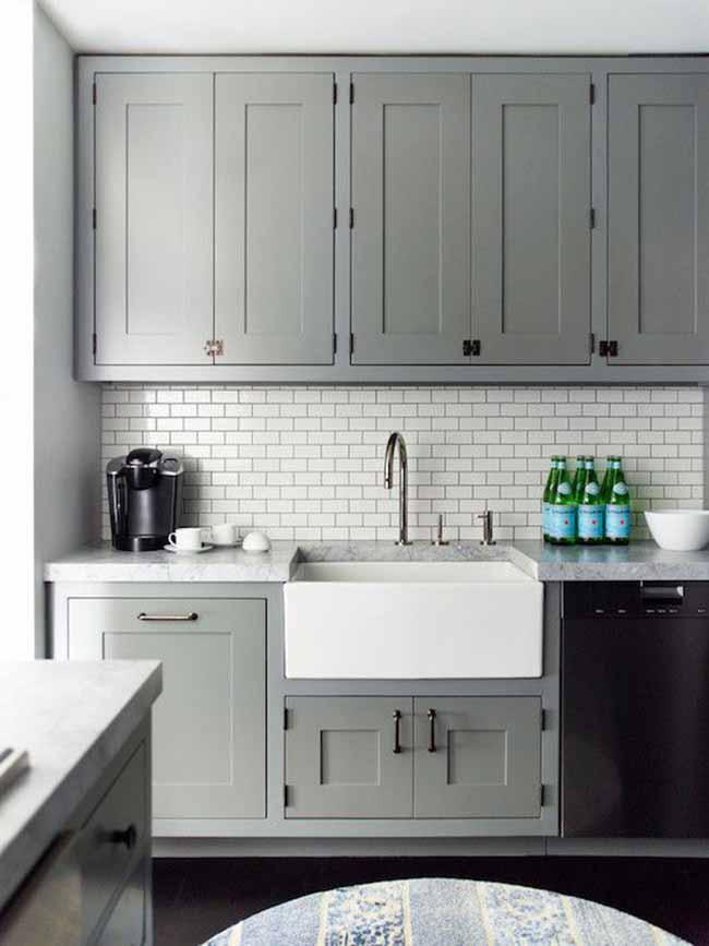 grey kitchen cabinets subway tiles