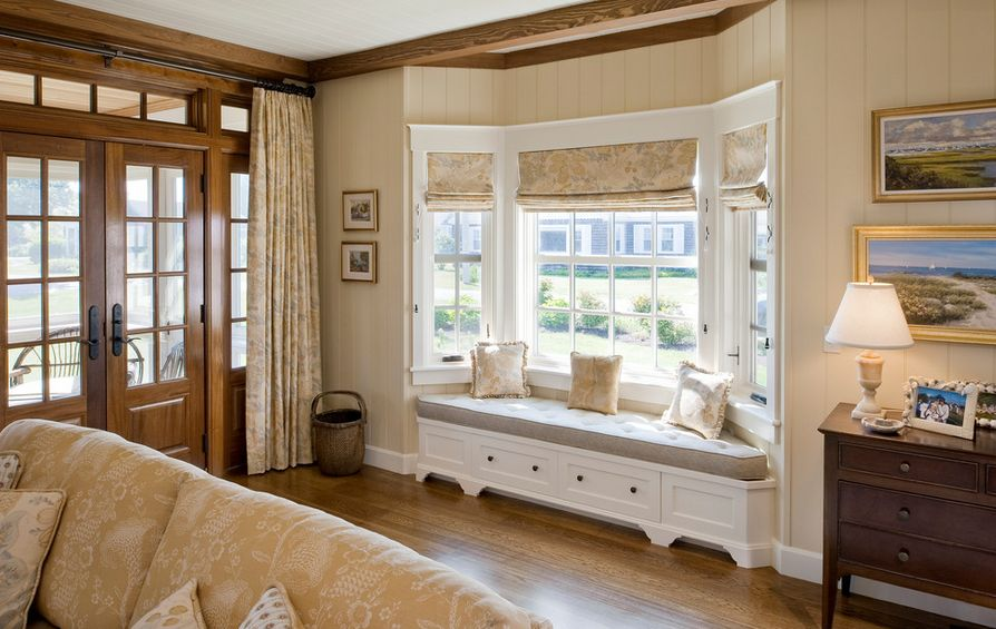 How to solve the curtain problem when you have bay windows for Roman shades for bay windows