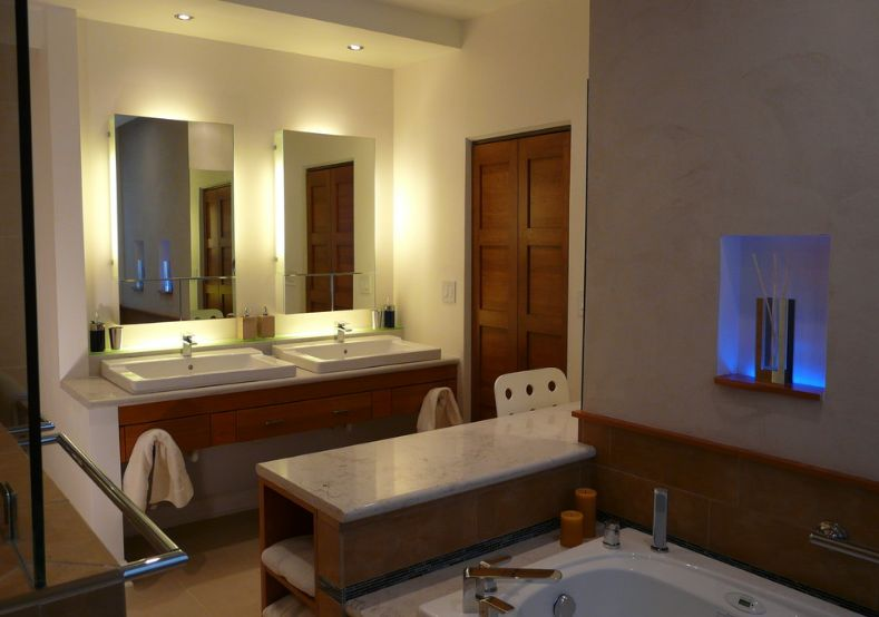 How to pick a modern bathroom mirror with lights aloadofball Image collections