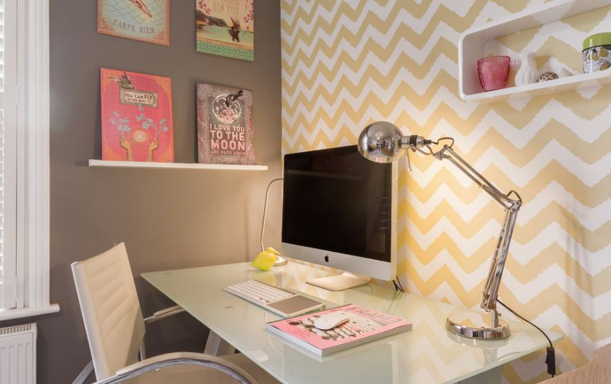 How to wallpaper a space using a chevron pattern for Wallpaper home office