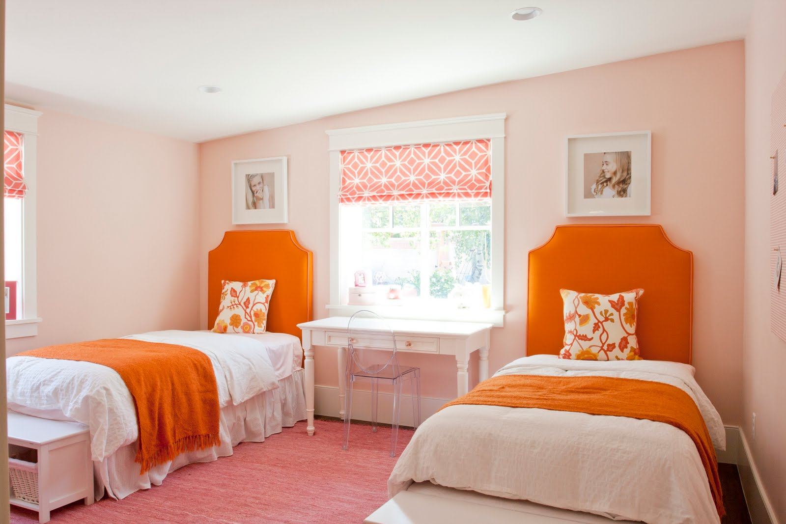 colors that make orange and compliment its tones 19455 | shared bedroom orange pink tones