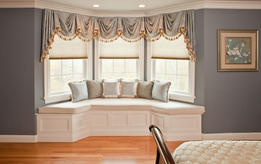 How To Solve The Curtain Problem When You Have Bay Windows Red Tab Top Kitchen Curtain Ideas on tab top curtains with valance, cheap curtain ideas, kitchen window treatment ideas,